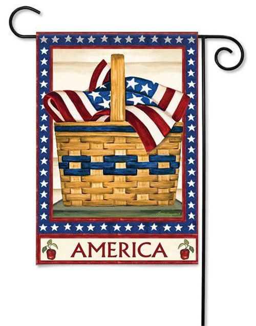 "America Basket Garden Flag - 13"" x 18"" - 2 Sided Message"