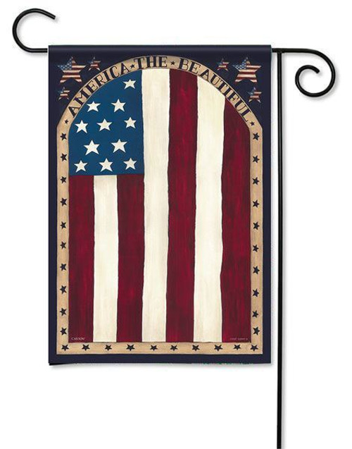 "Beautiful America Garden Flag - 13"" x 18"" - 2 Sided Message"