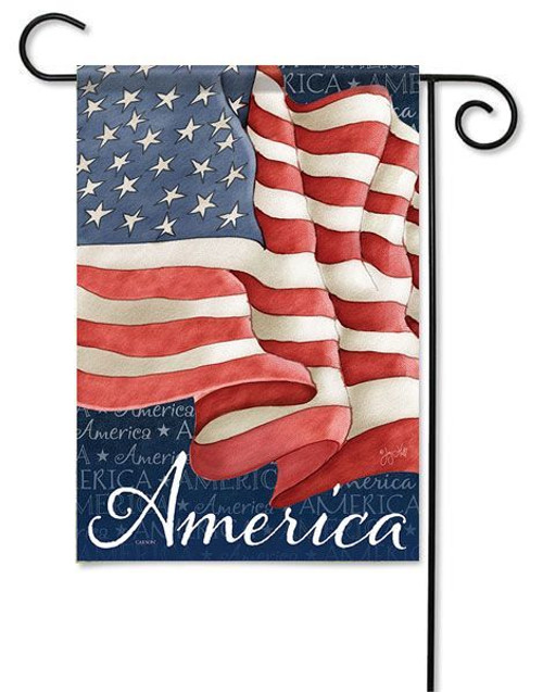 "Waving Flag Garden Flag - 13"" x 18"" - 2 Sided Message"