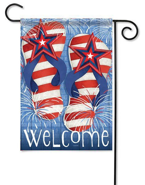"Flip Flop Fireworks Garden Flag - 13"" x 18"" - 2 Sided Message"