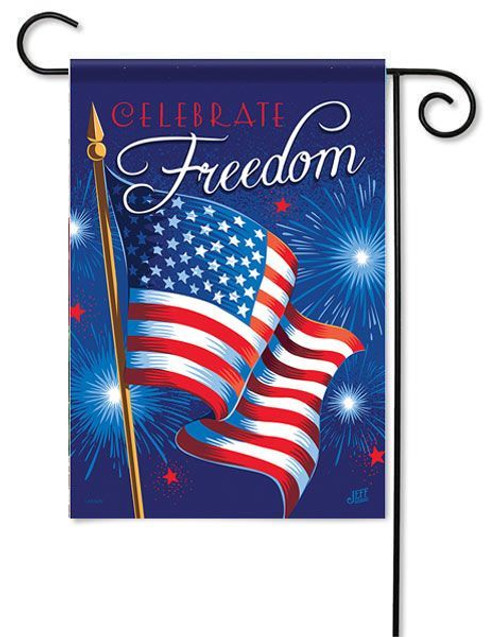 "Celebrate Freedom Garden Flag - 13"" x 18"" - 2 Sided Message"