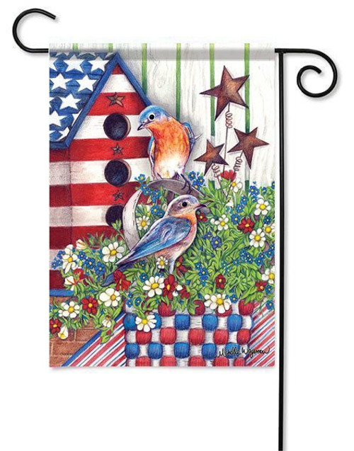 "Patriotic Bluebirds Garden Flag - 13"" x 18"" - Flag Trends"
