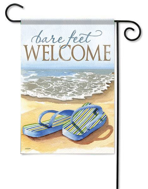 "Bare Feet Welcome Garden Flag - 13"" x 18"" - 2 Sided Message"
