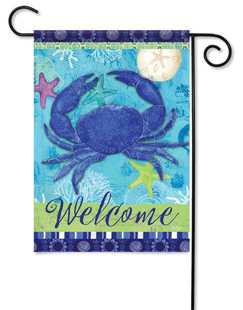 "Blue Crab Garden Flag - 13"" x 18"" - 2 Sided Message"