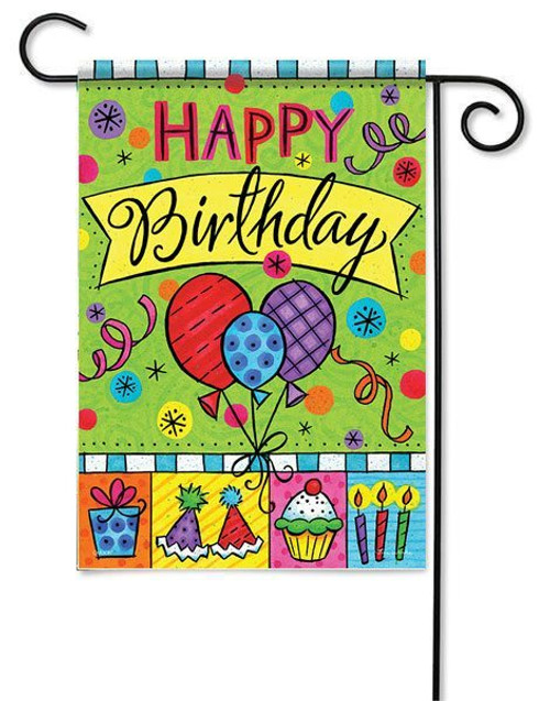 "Happy Birthday Balloons Garden Flag - 13"" x 18"" - 2 Sided Message"