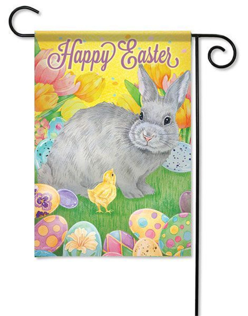 """Happy Easter Bunny Garden Flag - 13"""" x 18"""" - 2 Sided Message"""