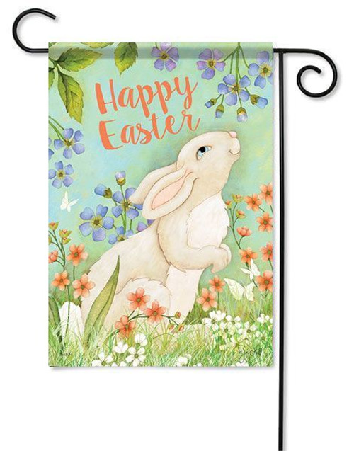 "Easter Bunny & Flowers Garden Flag - 13"" x 18"" - 2 Sided Message"