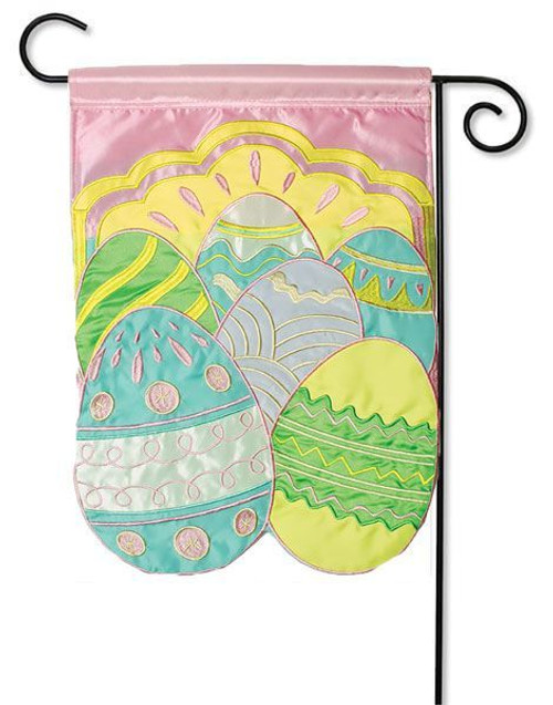 "Colorful Eggs Applique Easter Garden Flag - 13"" x 18"" - Flag Trends"