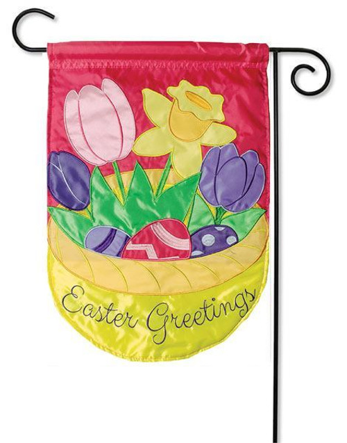 "Easter Basket Bouquet Applique Garden Flag - 13"" x 18"" - 2 Sided Message"