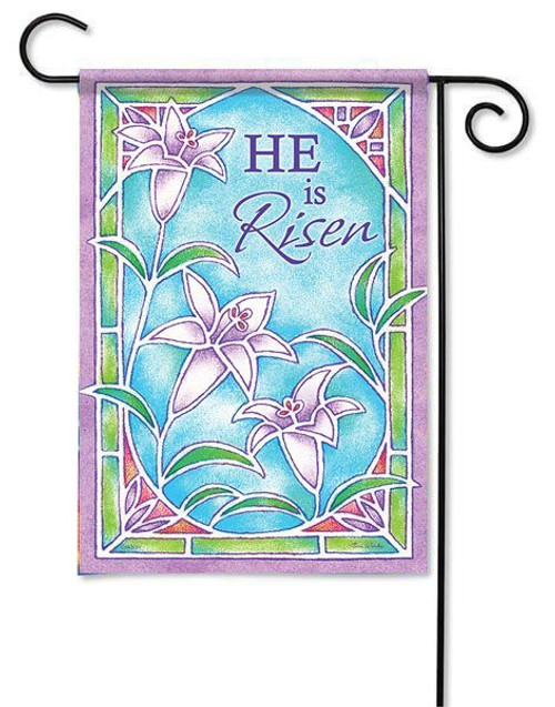 "Stained Glass Easter Lilies Garden Flag - 13"" x 18"" - 2 Sided Message"