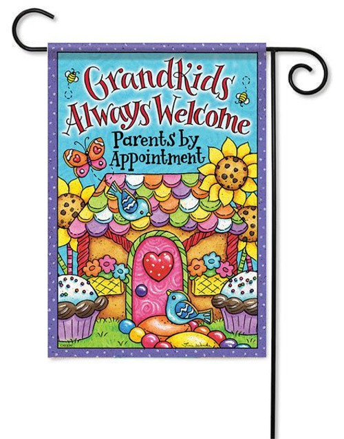 "Grandkids Welcome Garden Flag - 13"" x 18"" - 2 Sided Message"
