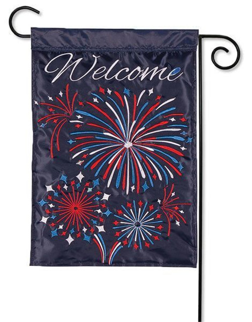 "Fireworks Applique Garden Flag - 13"" x 18"" - 2 Sided Message"