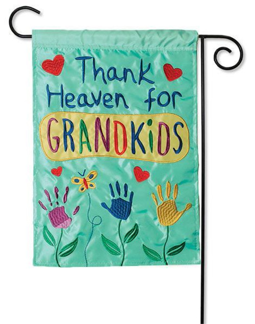 "Thank Heaven for Grandkids Applique Garden Flag - 13"" x 18"" - 2 Sided Message"