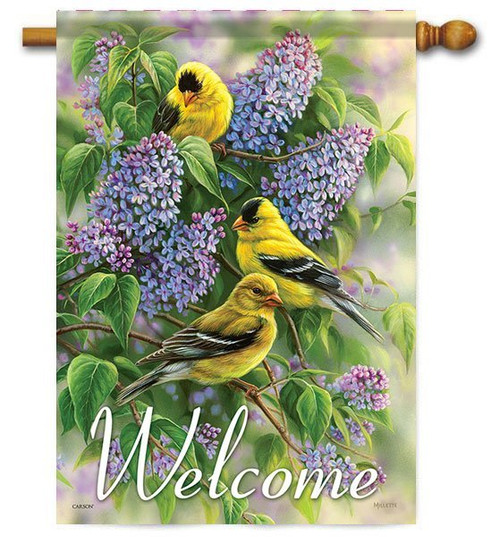 "Goldfinches & Lilacs House Flag - 28"" x 40"" - 2 Sided Message"