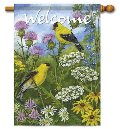 "Goldfinches & Thistle House Flag - 28"" x 40"" - 2 Sided Message"