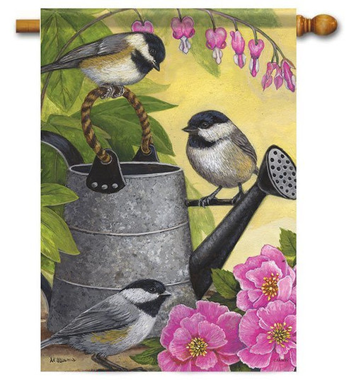 "Garden Chickadees House Flag - 28"" x 40"" - Flag Trends"
