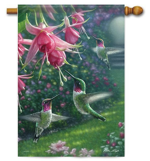 "Hummingbird Heaven House Flag - 28"" x 40"" - Flag Trends"