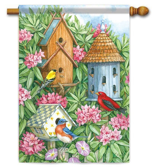 "Birdhouse Gathering House Flag - 28"" x 40"" - Flag Trends"