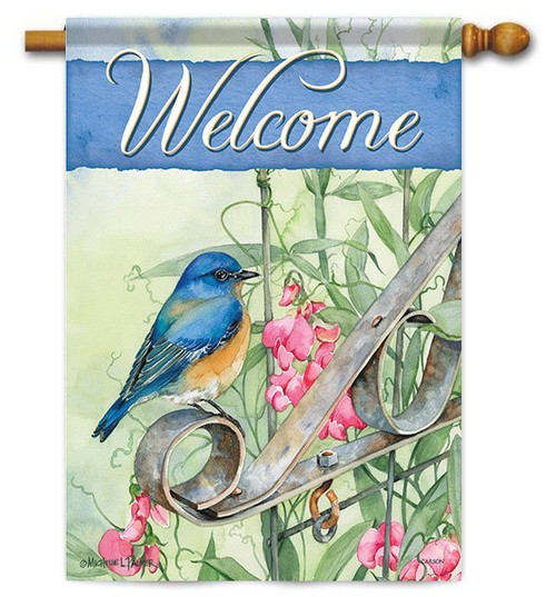 "Bluebird on Gate House Flag - 28"" x 40"" - 2 Sided Message"