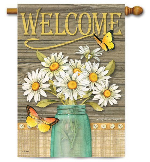 "Daisy Jar House Flag - 28"" x 40"" - 2 Sided Message"