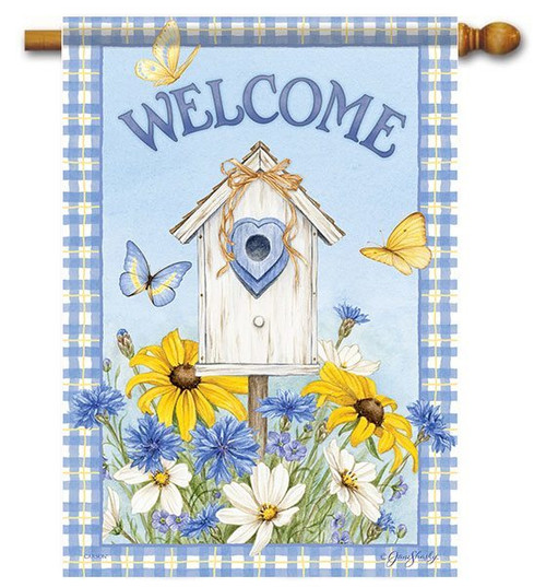 "Birdhouse & Wildflowers House Flag - 28"" x 40"" - 2 Sided Message"