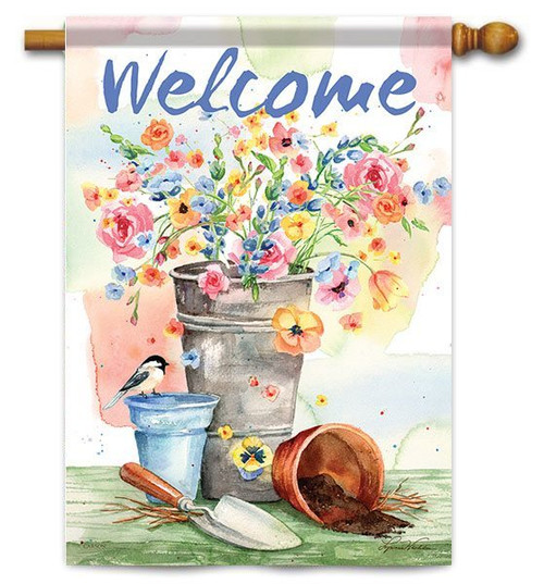 "Flower Bucket House Flag - 28"" x 40"" - 2 Sided Message"