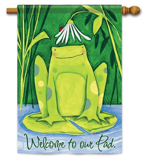 "Daisy Frog House Flag - 28"" x 40"" - 2 Sided Message"