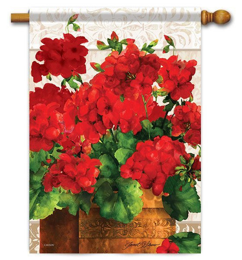 "Geranium Joy House Flag - 28"" x 40"" - Flag Trends"
