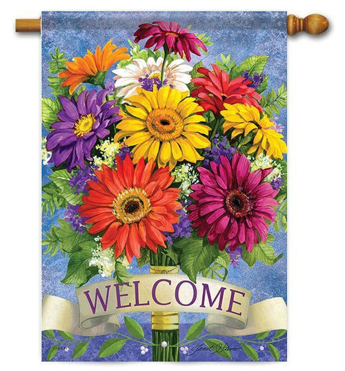 "Gerbera Welcome House Flag - 28"" x 40"" - 2 Sided Message"