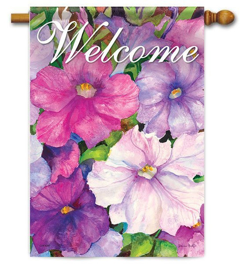 "Purple Petunias House Flag - 28"" x 40"" - 2 Sided Message"