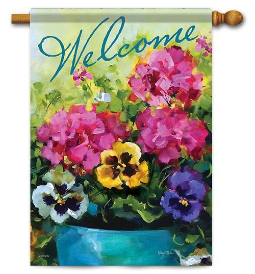 "Watercolor Florals House Flag - 28"" x 40"" - 2 Sided Message"