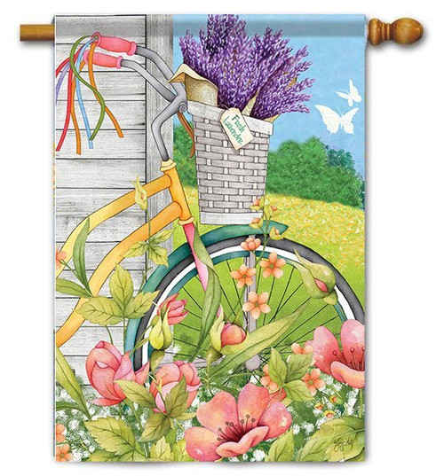 "Bicycle Basket House Flag - 28"" x 40"" - 2 Sided Message"