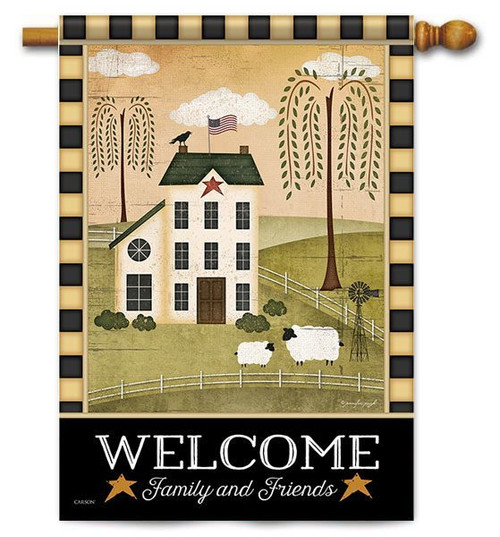 "Country Welcome House Flag - 28"" x 40"" - 2 Sided Message"