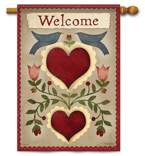 """Country Hearts House Flag - 28"""" x 40"""" - 2 Sided Message"""