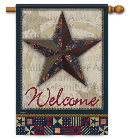 "Quilted Barn Star House Flag - 28"" x 40"" - 2 Sided Message"