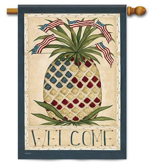 "Patriotic Pinneapple House Flag - 28"" x 40"" - 2 Sided Message"