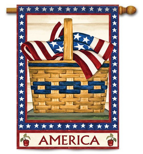 "America Basket House Flag - 28"" x 40"" - 2 Sided Message"