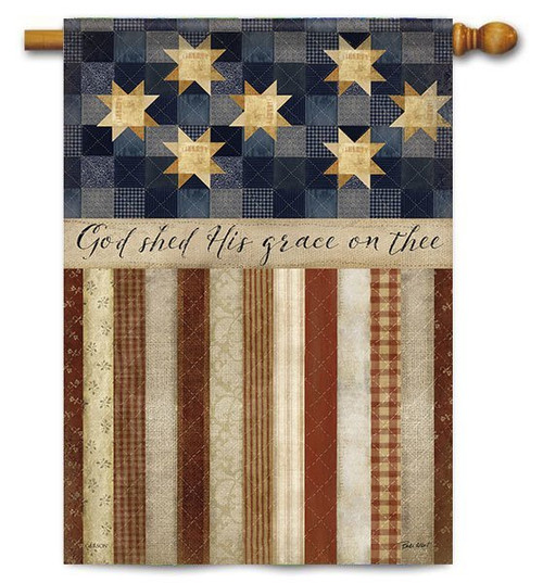 "God Shed His Grace House Flag - 28"" x 40"" - 2 Sided Message"
