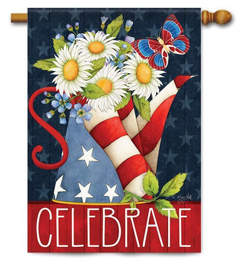 "Patriotic Pitcher House Flag - 28"" x 40"" - 2 Sided Message"
