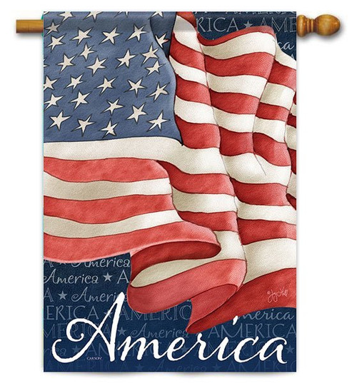 "Waving Flag House Flag - 28"" x 40"" - 2 Sided Message"