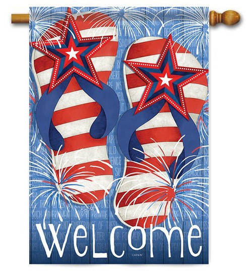 "Flip Flop Fireworks House Flag - 28"" x 40"" - 2 Sided Message"