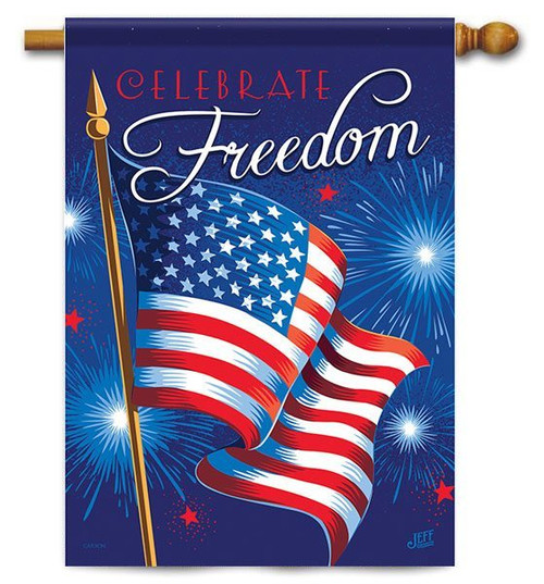 "Celebrate Freedom House Flag - 28"" x 40"" - 2 Sided Message"