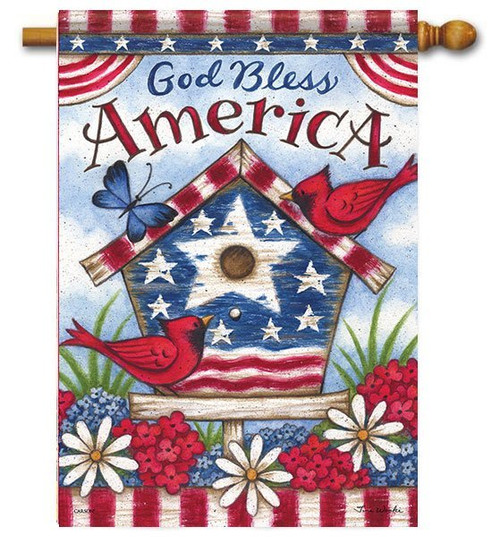 "Americana Birdhouse House Flag - 28"" x 40"" - 2 Sided Message"