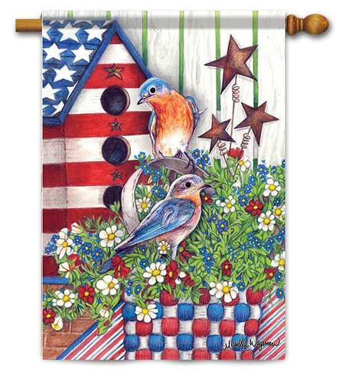 "Patriotic Bluebirds House Flag - 28"" x 40"" - Flag Trends"