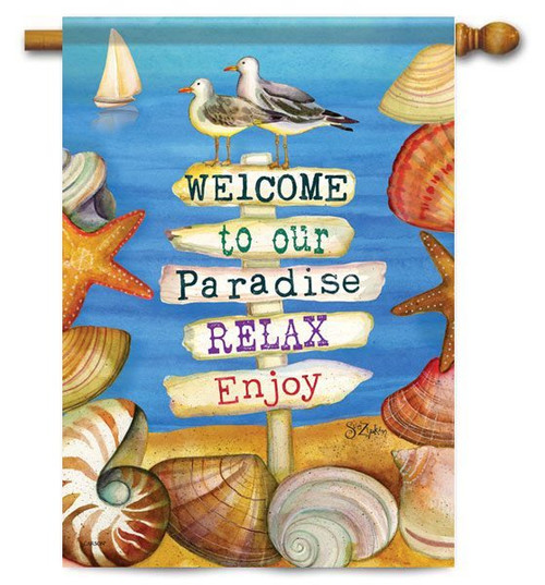 "Signs of Paradise House Flag - 28"" x 40"" - 2 Sided Message"