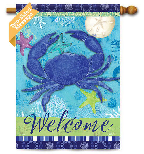 "Blue Crab House Flag - 28"" x 40"" - 2 Sided Message"