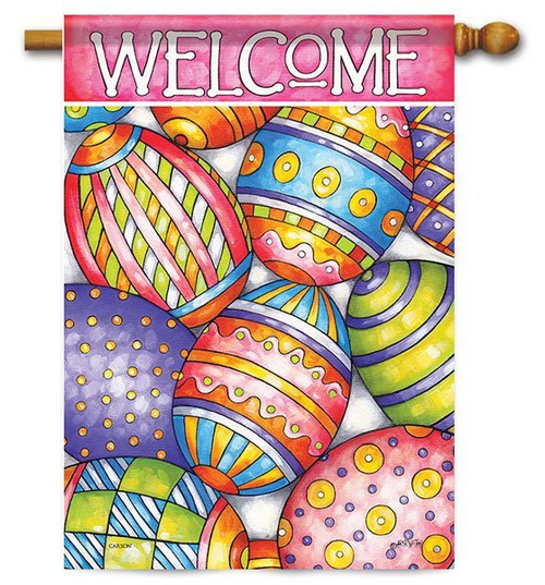 "Painted Eggs Easter House Flag - 28"" x 40"" - 2 Sided Message"