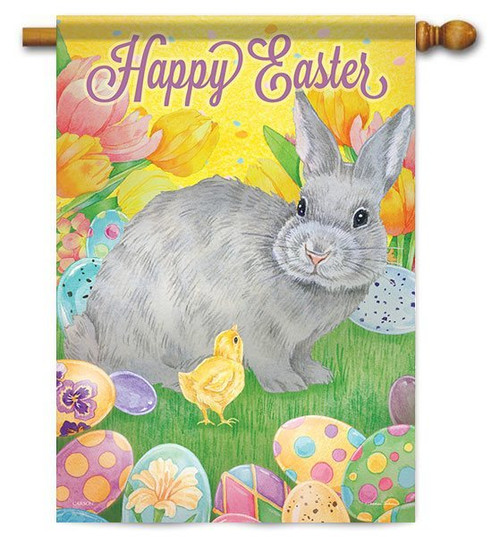 "Happy Easter Bunny House Flag - 28"" x 40"" - 2 Sided Message"