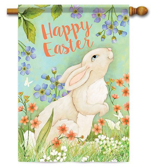 "Easter Bunny & Flowers House Flag - 28"" x 40"" - 2 Sided Message"