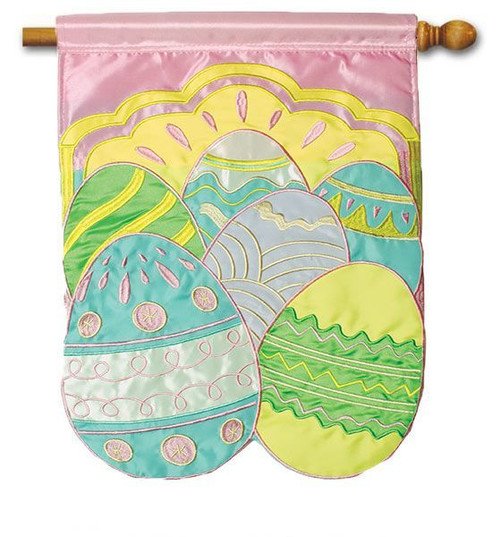"Colorful Eggs Applique Easter House Flag - 28"" x 40"" - Flag Trends"